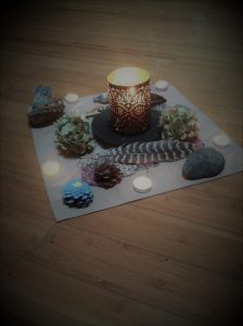 Drum Circle Altar with candle in the middle