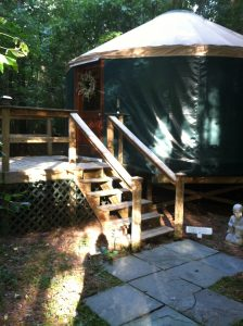 A yurt on a deck